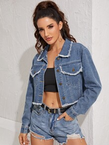 Frayed Trim Single Breasted Denim Jacket