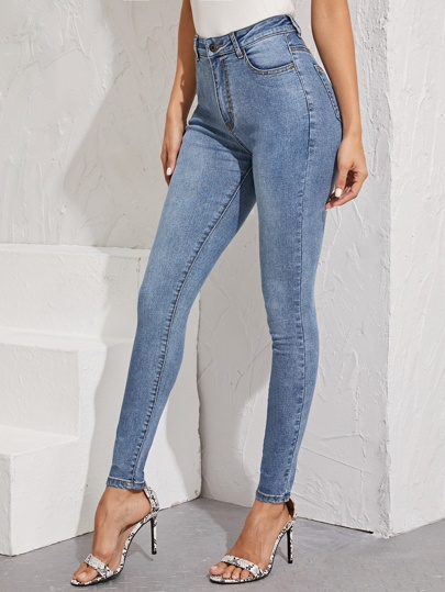 Washed Button Fly Skinny Jeans