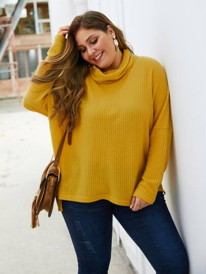 Plus High Neck Split Side Sweater