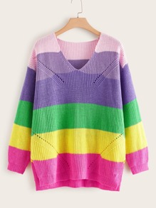 Plus Rainbow Striped Hollow Out Sweater