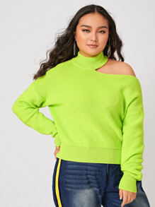 Plus Neon Green Cold Shoulder Mock Neck Sweater