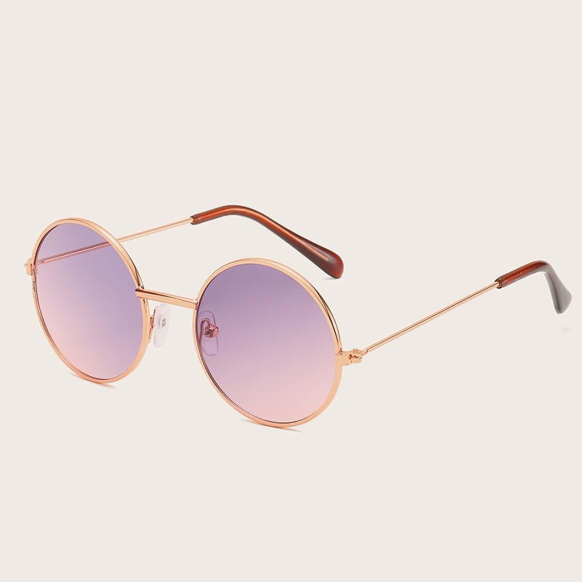 Солнечные очки с круглой металлической рамкой для маленьких девочек