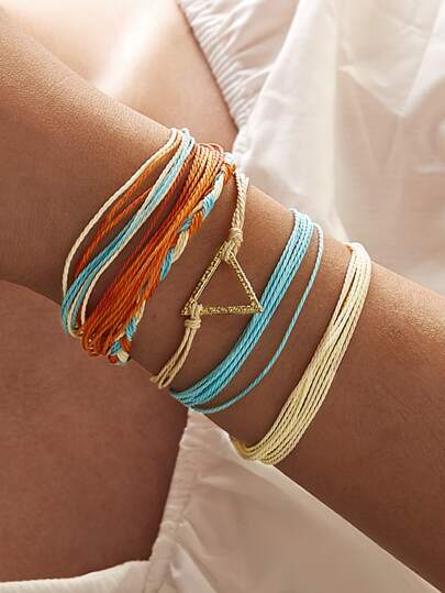 Geometric Decor String Bracelet 6pcs