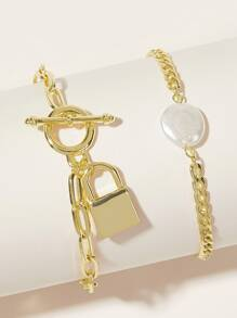 Faux Pearl & Lock Decor Chain Bracelet 2pcs