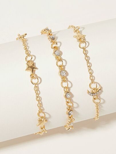 Rhinestone Star & Moon Decor Chain Bracelet 3pcs