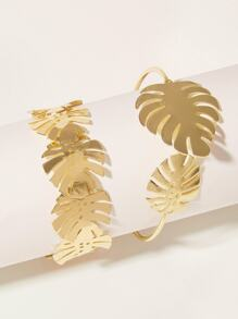 Leaf Decor Cuff Bracelet 2pcs