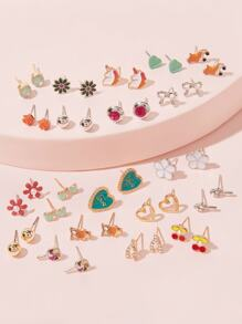 Flower & Cherry Stud Earrings 20pairs
