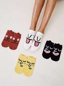 Cartoon Pattern Socks 4pairs