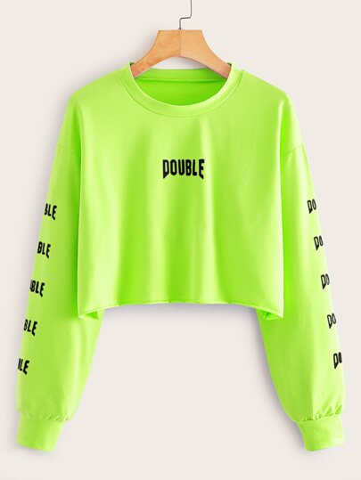 Neon Green Letter Graphic Crop Sweatshirt