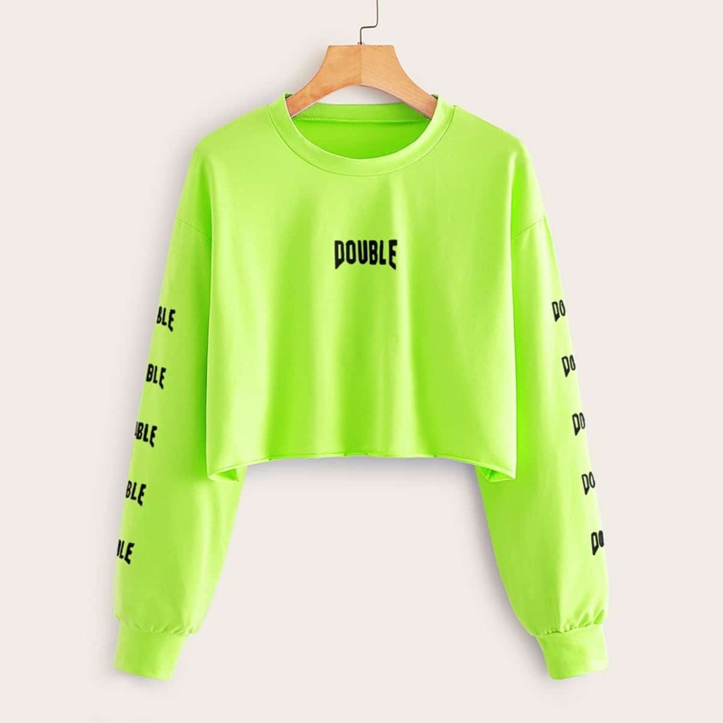Neon Green Letter Graphic Crop Sweatshirt, Green bright