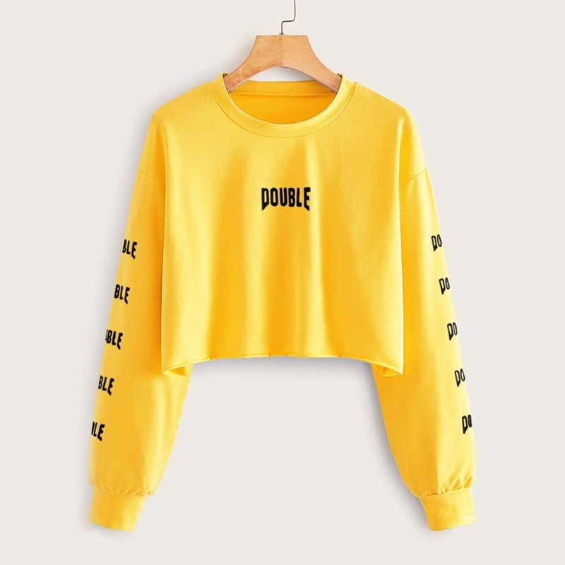 Neon Yellow Letter Graphic Crop Sweatshirt, Yellow bright