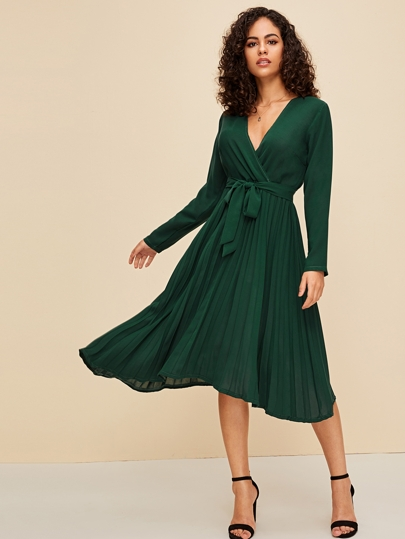 Surplice Belted Pleated Hem Midi Dress