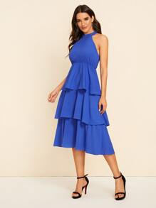 Solid Tiered Layer Hem Halter Dress