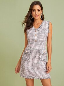 Pearls Button Dual Pocket Raw Trim Tweed Dress