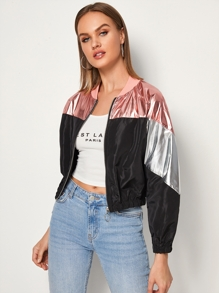 Contrast Metallic Zip Up Windbreaker Jacket