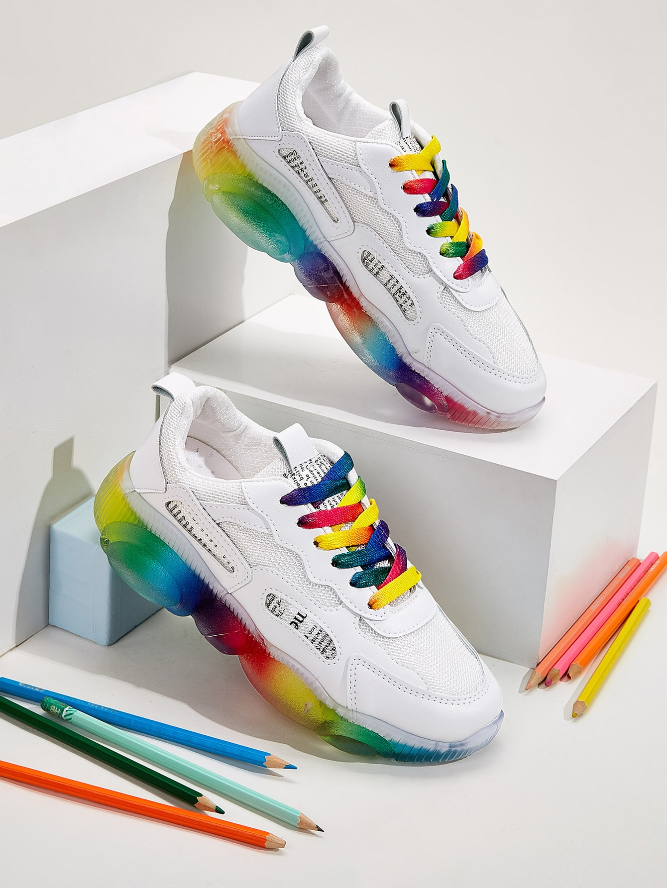 Rainbow Lace-up Front Chunky Sneakers