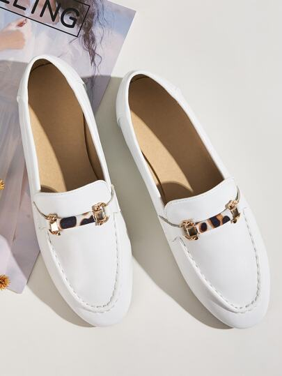 Slip On Loafers mit Leopard Detail