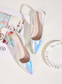 Point Toe Holographic Slingback Flats
