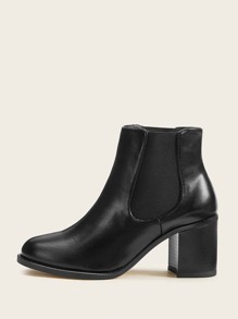 Side Zip Chunky Heeled Chelsea Boots