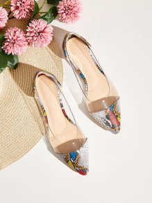 Point Toe Snakeskin Panel Flats