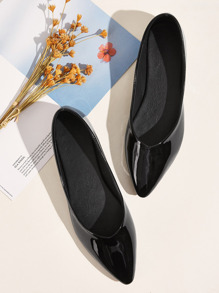 Point Toe Patent Flats