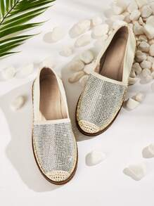 Cap Toe Rhinestone Decor Flats