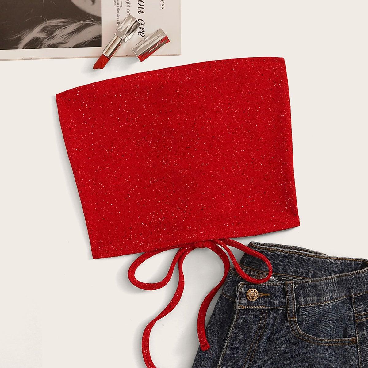Красный Топ Бандо С Завязкой
