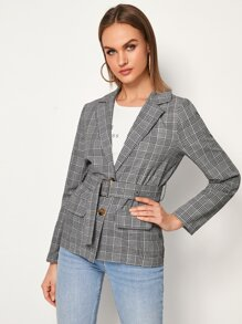 Lapel Collar Button Front Plaid Belted Blazer