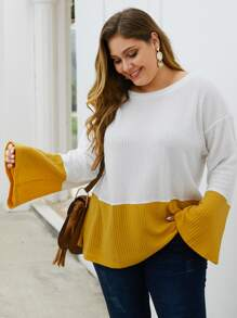 Plus Cut And Sew Flounce Sleeve Sweater