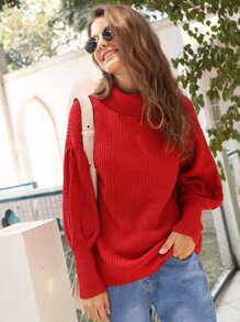Solid High Neck Leg-of-mutton Sleeve Sweater