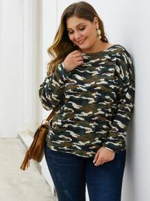 Plus Camo Print Drop Shoulder Sweater