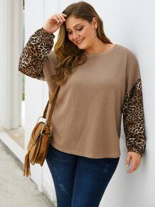 Plus Leopard Print Drop Shoulder Sweater