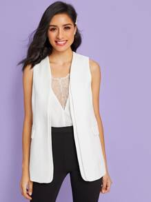 Pocket Side Solid Blazer Vest