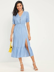 Split Thigh Ruffle Hem Solid Dress
