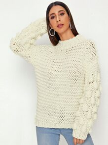 Ball Shaped Lantern Sleeve Pullover Sweater