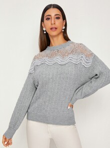 Lace Panel Cable Knit Jumper