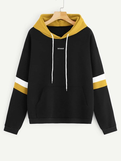 Letter Embroidery Drawstring Contrast Hoodie