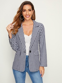 Flap Pocket Gingham Label Collar Blazer