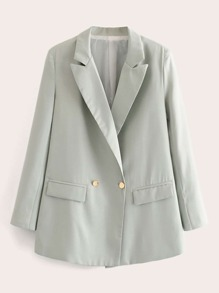 Lapel Collar Double Button Blazer