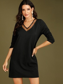 V-neck Contrast Mesh Tunic Dress
