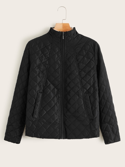 Zip Up Solid Quilted Jacket