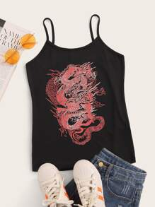 Dragon Print Sleeveless Cami Top