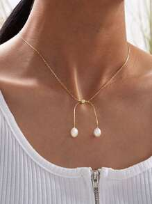Faux Pearl Charm Necklace 1pc