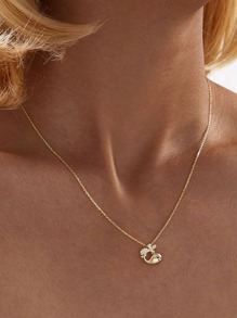 Rhinestone Engraved Whale Charm Necklace 1pc