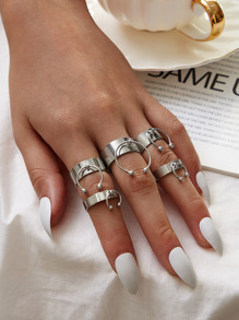 Cuff Ring Decor Ring 5pcs