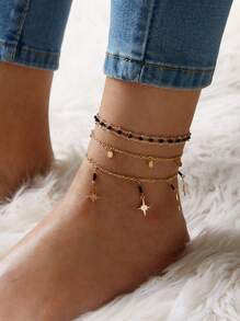 Star & Disc Decor Chain Anklet 3pcs