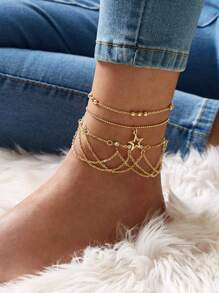 Star & Rhinestone Tassel Decor Chain Anklet 3pcs
