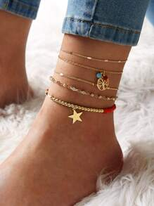 Star & Tree Decor Chain Anklet 5pcs