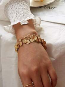 Coin Tassel Chain Bracelet 1pc