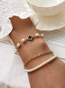 Clover Decor Faux Pearl Beaded Bracelet 2pcs